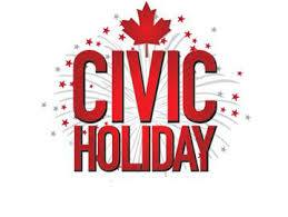 Civic Holiday!  We are Open!